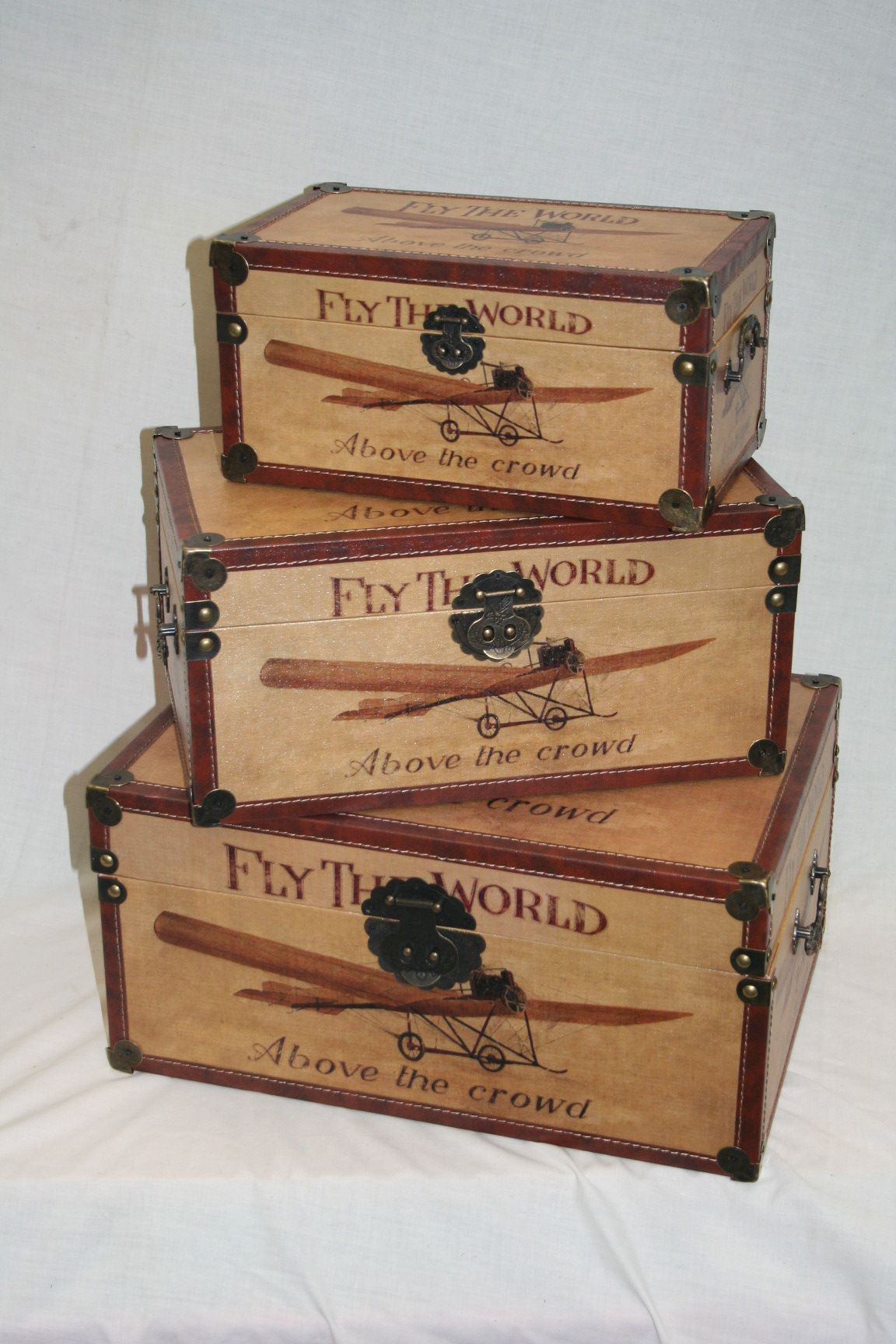 Early Flying Machine Fly The World Wooden Storage Trunk Available As A Set  Of 3 Or Individually