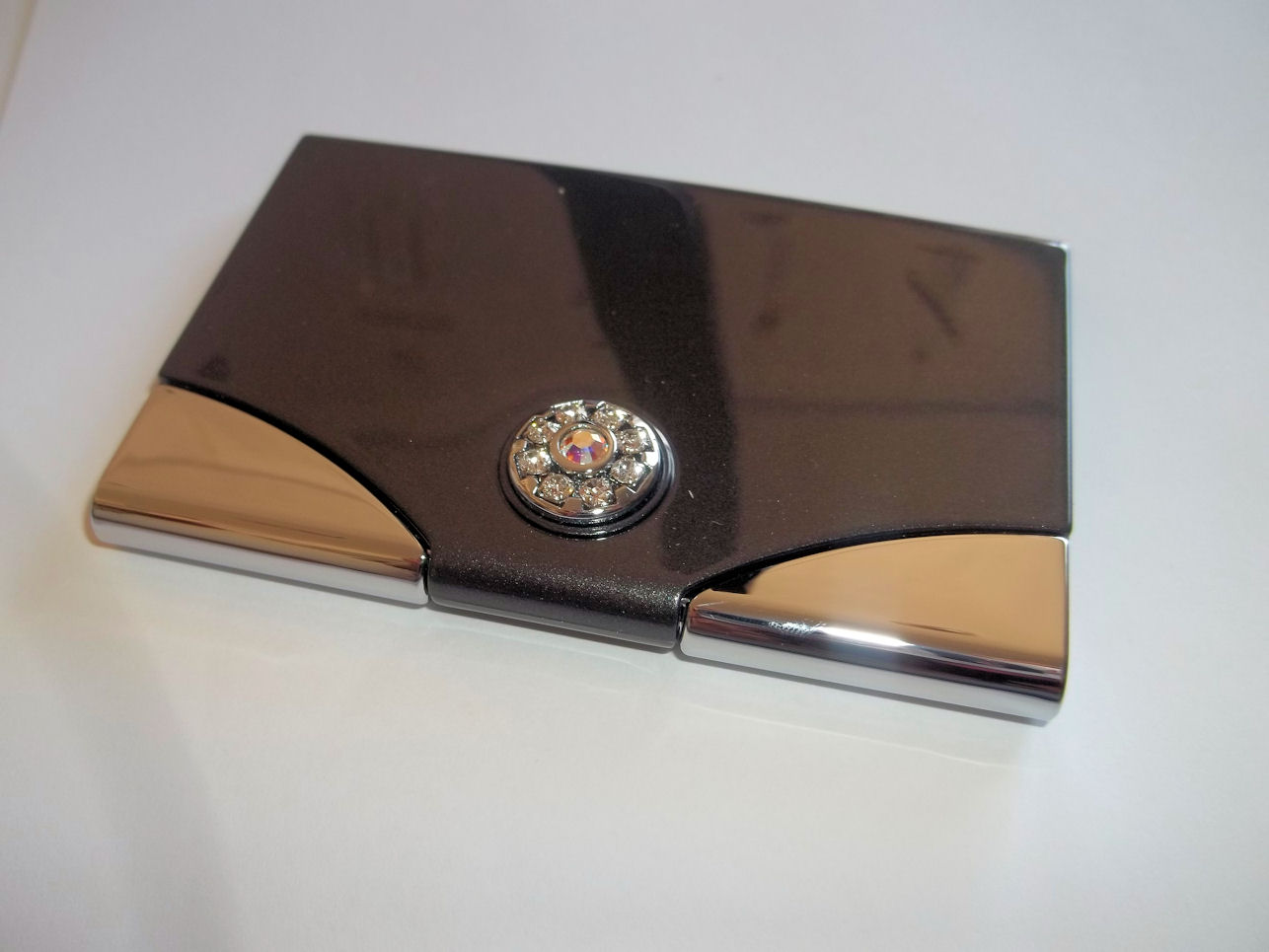 Gun Metal Business Card Holder with Swarvoski Crystals Mothers Day ...