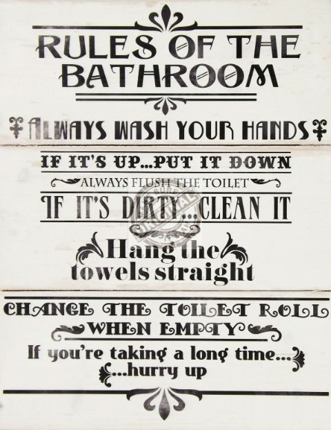 rules of the bathroom large wooden wall plaque rh thenest at johnrichards com Bathroom Signs Plaques Flower Wall Plaque