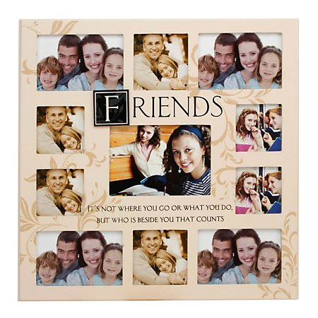 Large Cream Wooden Friends Collage Photo Frame.