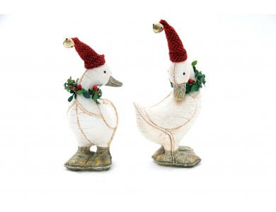 Christmas Duck.Leather Look Pair Of Christmas Duck Ornaments