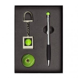 Sports Pen Set with Keyring and Pen Holder Fathers Day Birthday Gift!! Golf, Tennis, Football
