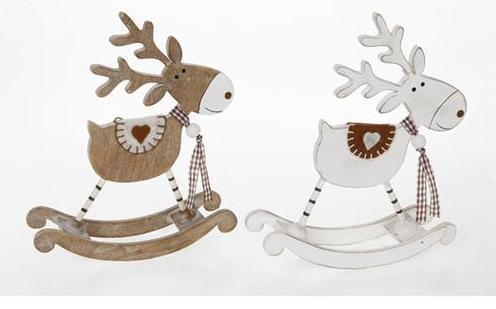 wooden rocking reindeer in white or natural christmas decoration